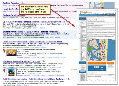 Google adwords instant previews