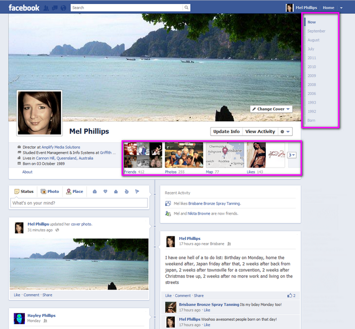 Facebook's new Timeline Profile