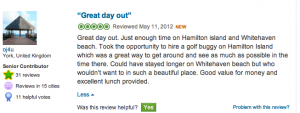 TripAdvisor review integrated to blog post